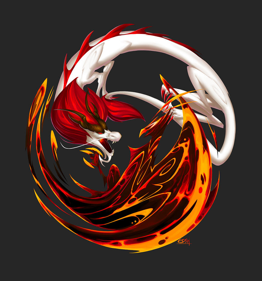Charity Request: Dragon vs Phoenix by Eosphorite