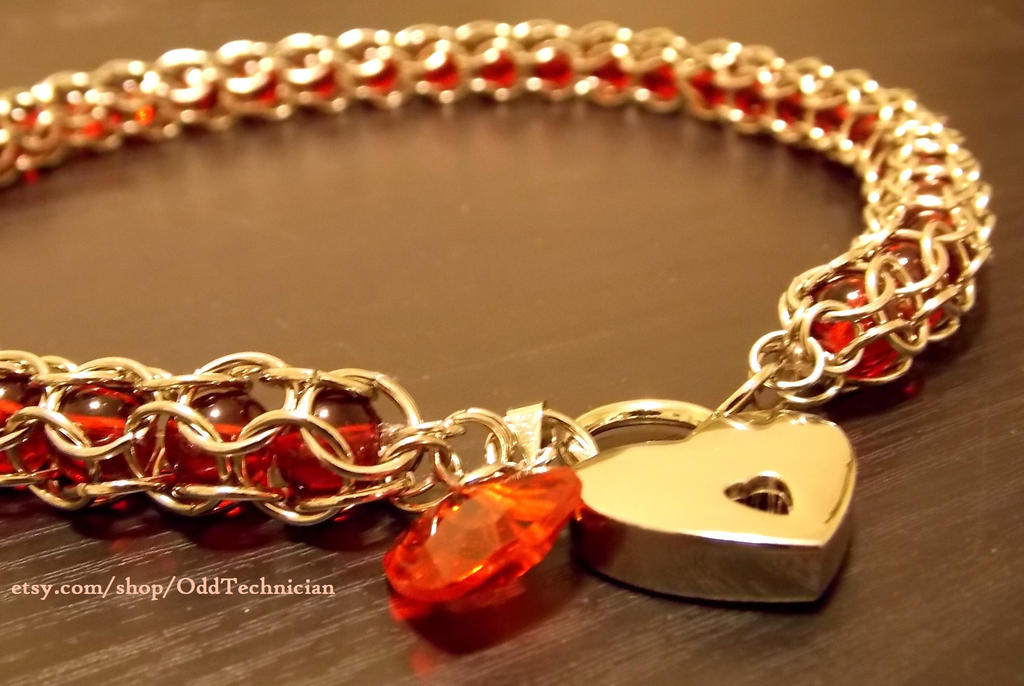 Red and Silver Beaded Necklace w Heart Lock by ulfchild
