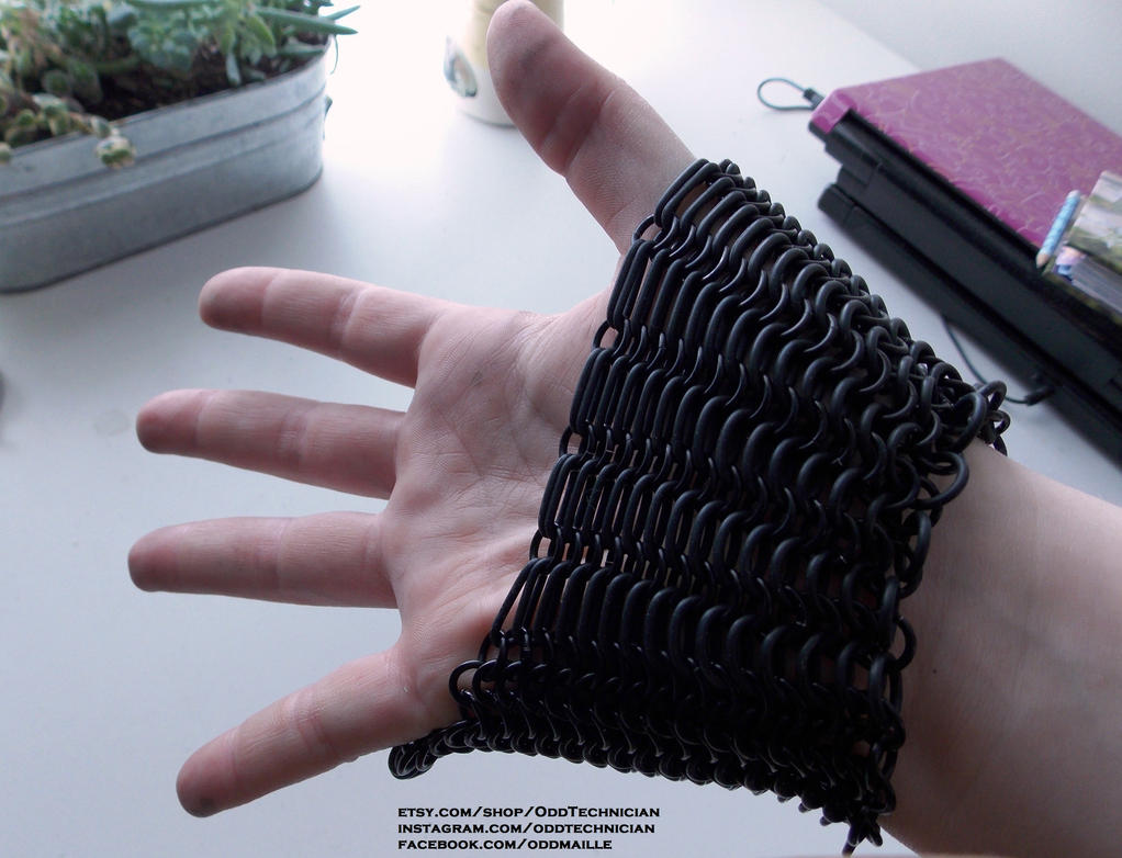 Chainmaille Black Bracer Set (rubber stretchiness) by ulfchild