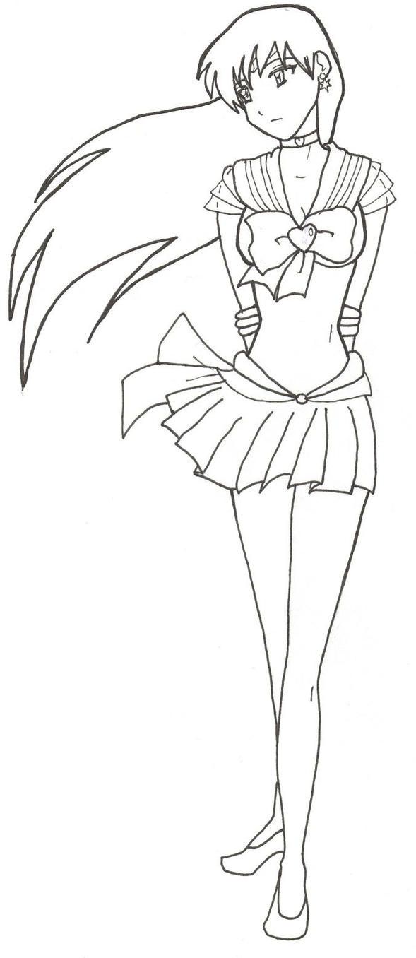Sailor mars lineart by crazygoodpoptart on deviantart for Sailor mars coloring pages