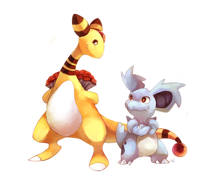 Commission: Ampharos x Nidorina by salanchu