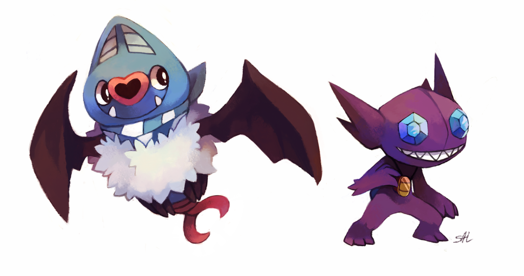 Commission: Swoobat n Sableye by salanchu