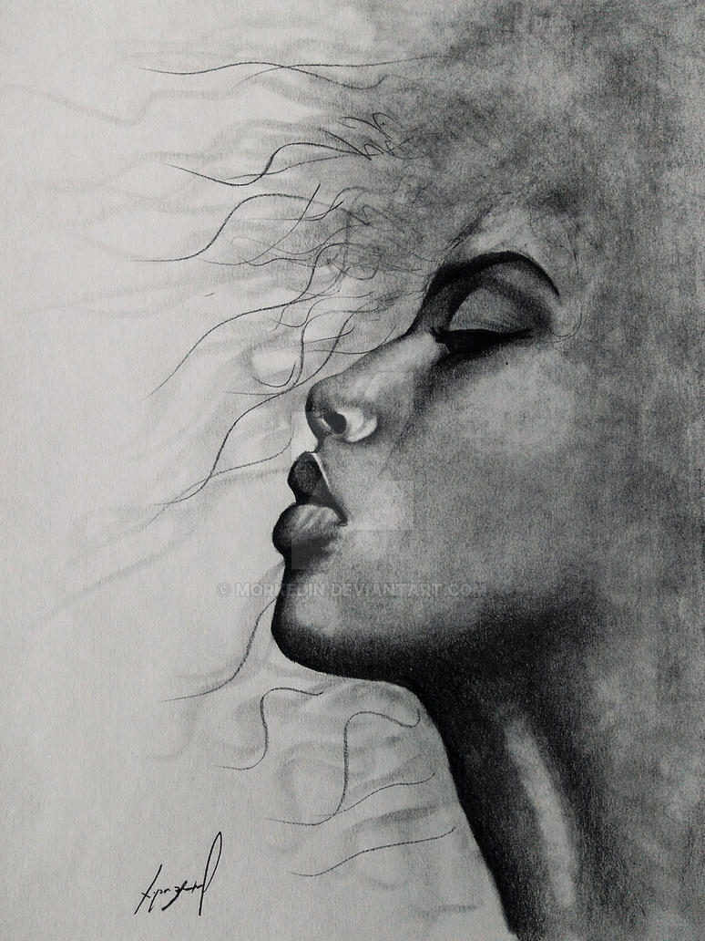 Female face pencil drawing by morkedin on deviantart