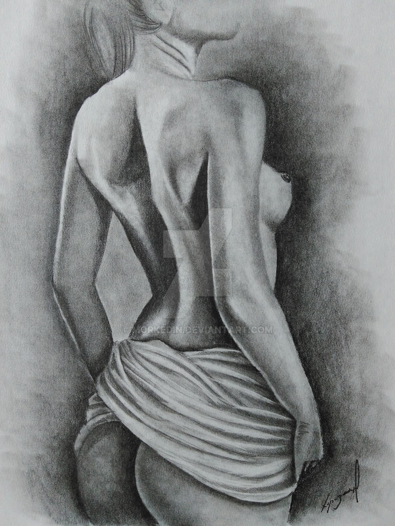 Nude female pencil drawing by morkedin