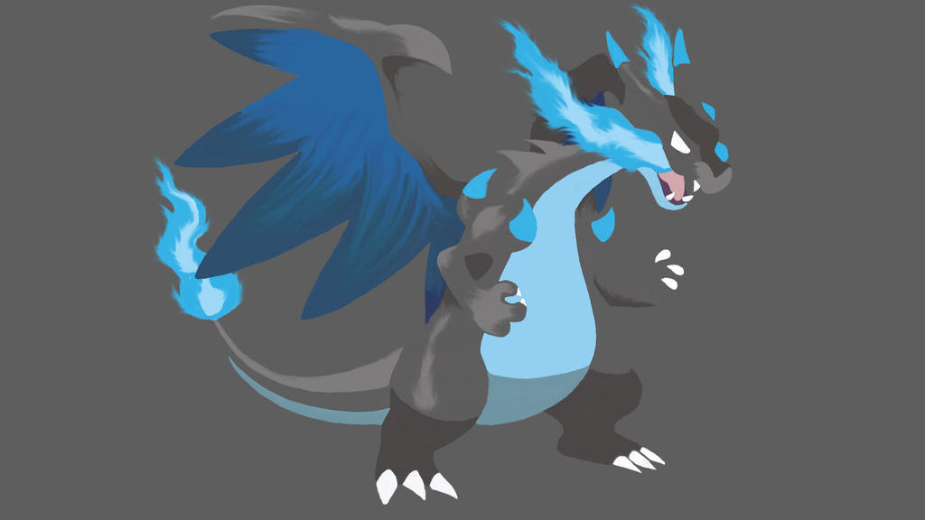 Simple Mega Evolution Charizard X Wallpaper by ...