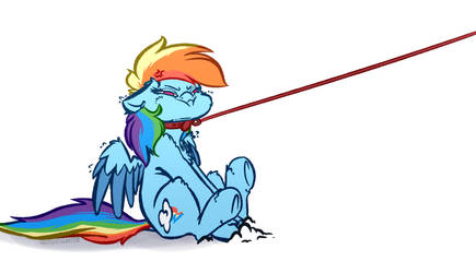 Leashed Rainbow Horse by WitchTaunter