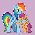 Rainbow Dash and Scoots Hug Commission