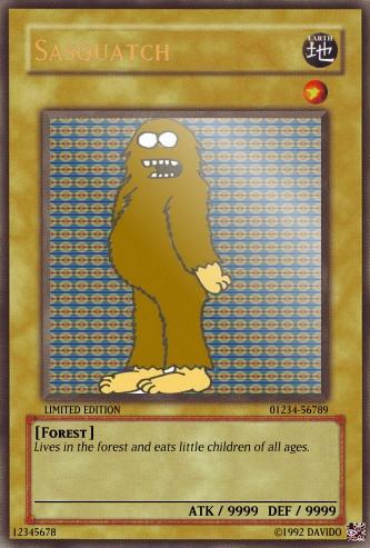 A Sasquatch Yu-gi-oh card by madbadger174