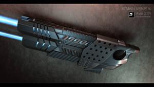 Futuristic 3D rifle