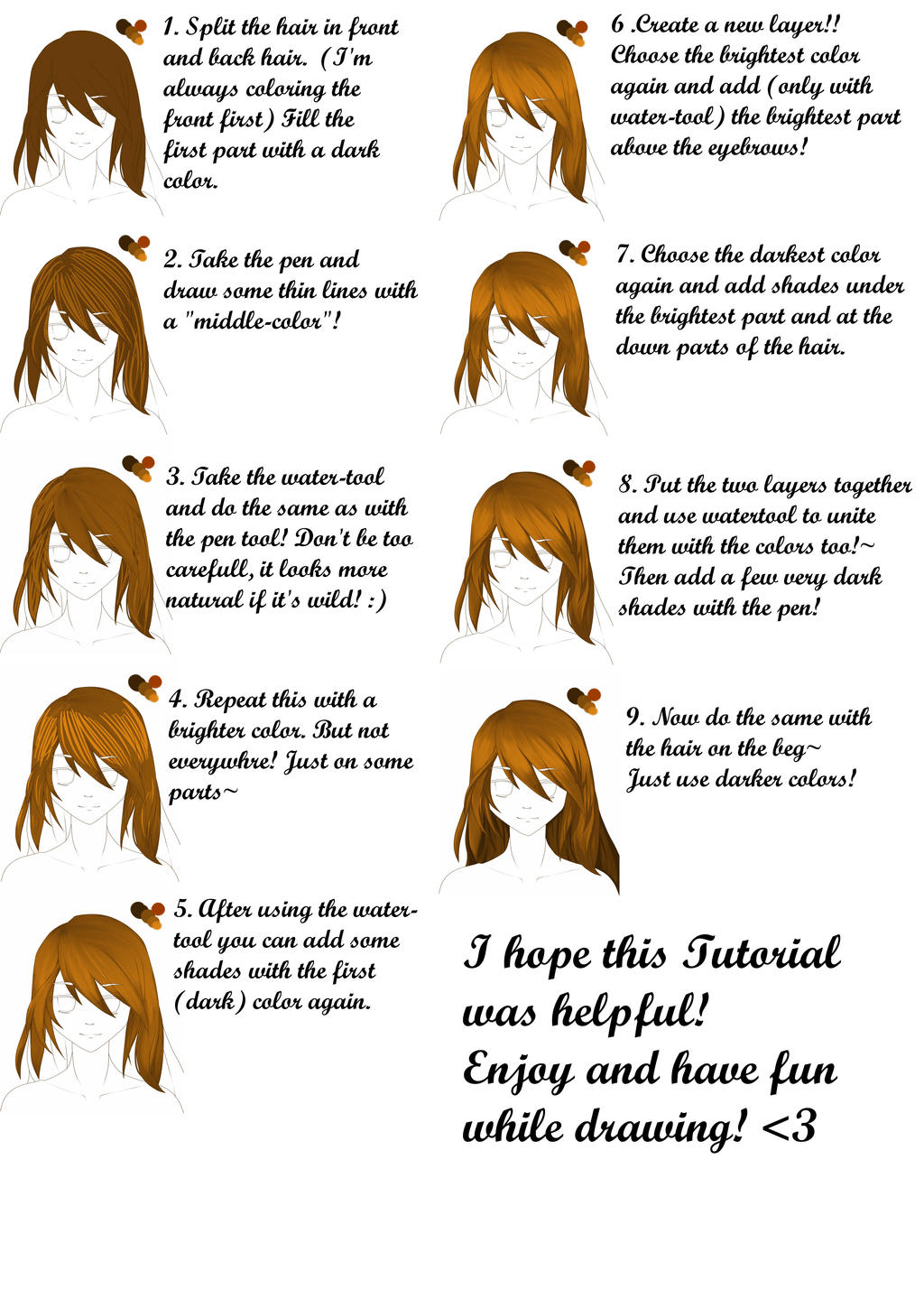 Requested] 9 Steps Hair-Tutorial! Paint Tool Sai by Ikkie-Chan on ...