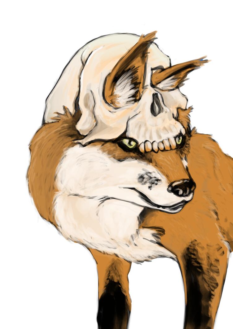 Schetsblad 0076 Fox Skull by FKiekens