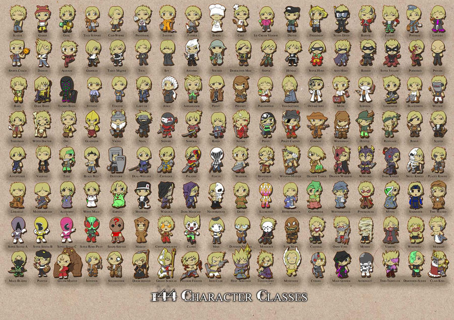144 Character Classes by Cannibal-Cartoonist