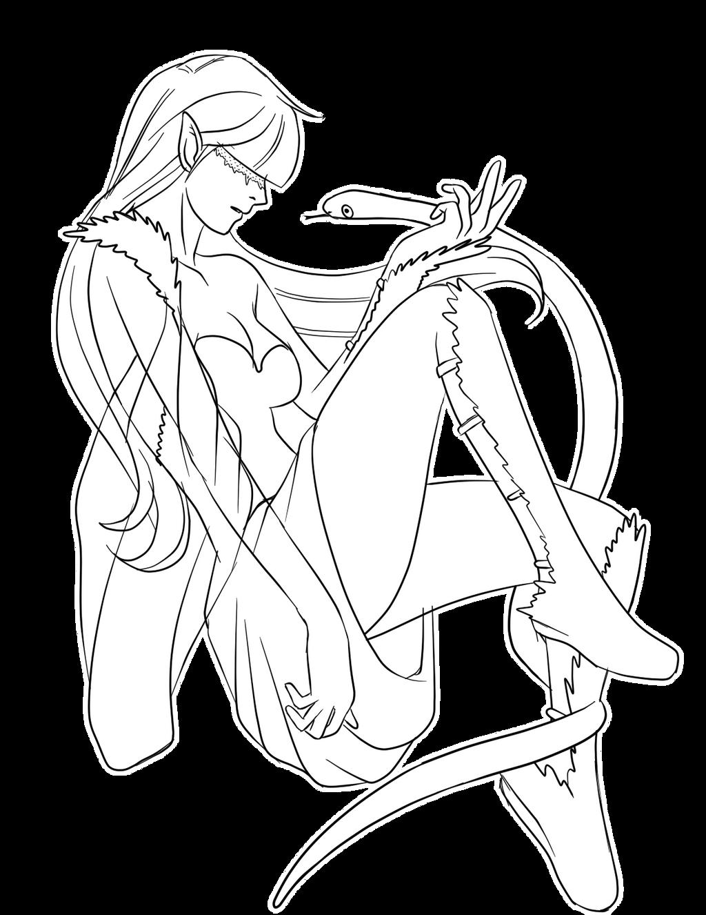 Ilustraciones:. - Página 3 The_girl_and_the_serpent_by_nianatsu-d4lnnz8