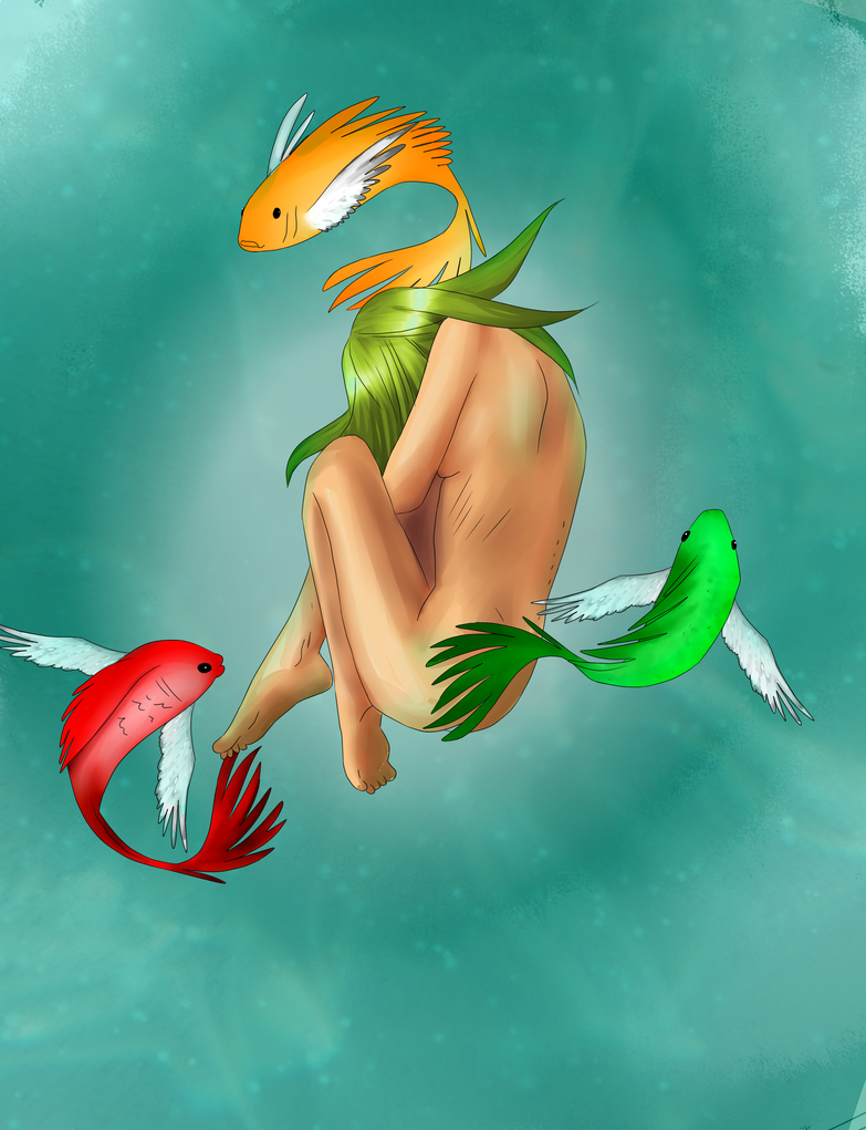 Ilustraciones:. - Página 2 The_nymph_and_the_flying_fish_by_pammella-d5sl79p