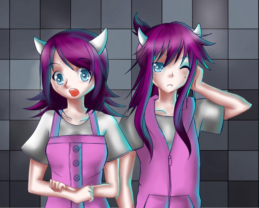 Ilustraciones:. - Página 5 Twins_by_pammella-d6nvkea