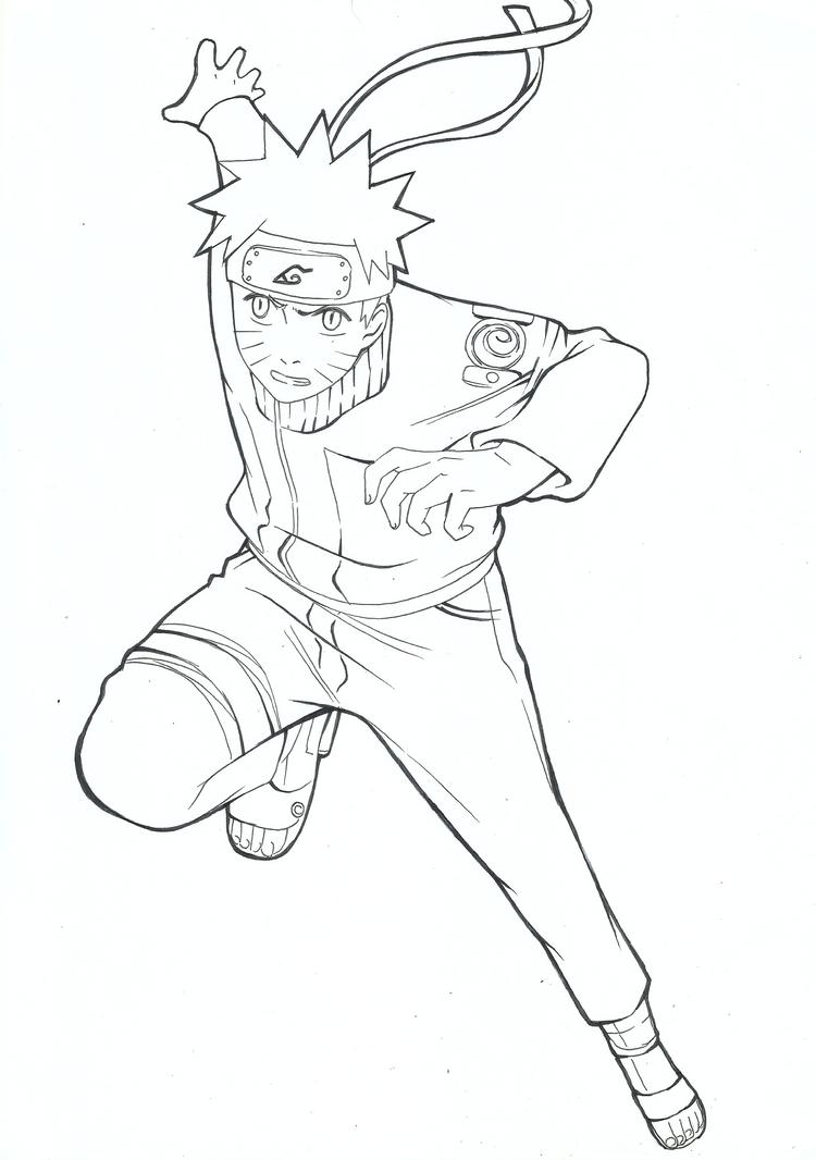Naruto Uzumaki Lineart by Pammella