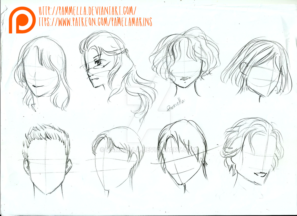 Hair Reference Sheet 1 by Pammella