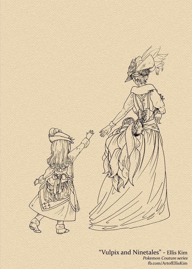 Vulpix and Ninetales by Dark-Pen