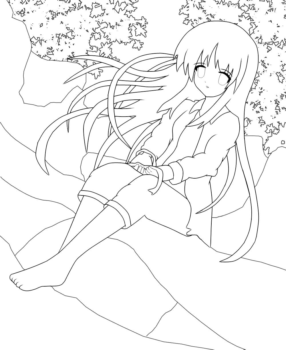 Anime Girl Lineart : Anime girl lineart by azrx on deviantart