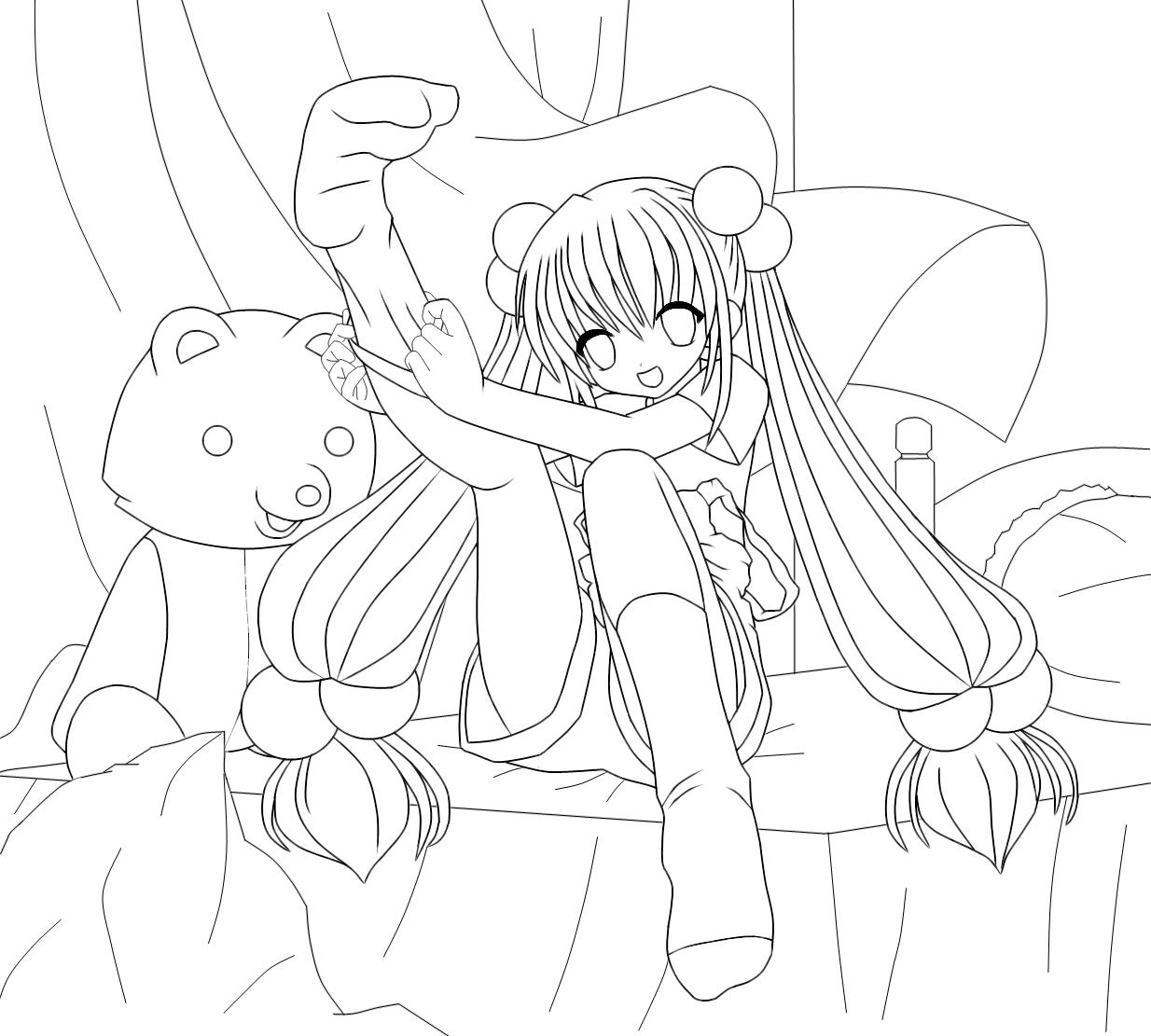 Kawaii anime girl lineart by Azrx004 on DeviantArt