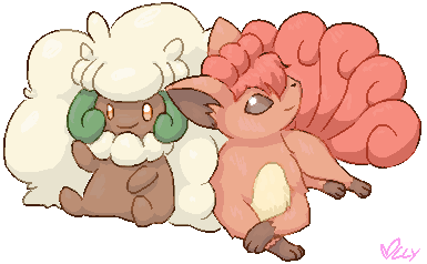 whimsicott and vulpix by vllykvt