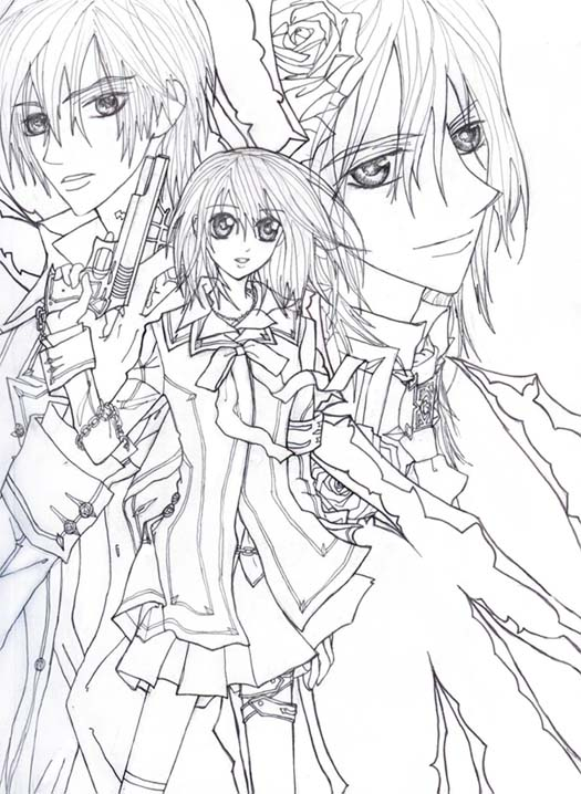 Vampire knight lineart by sheenabon on deviantart for Vampire knight coloring pages