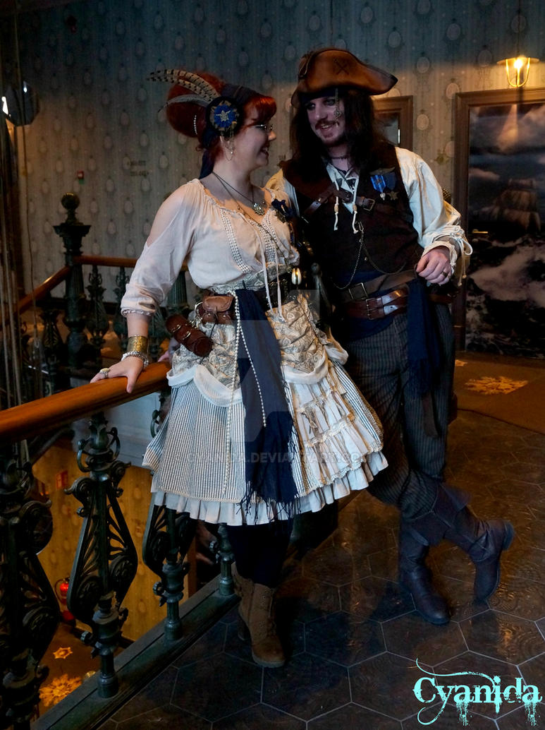 Steampunk pirate and maiden by Cyanida