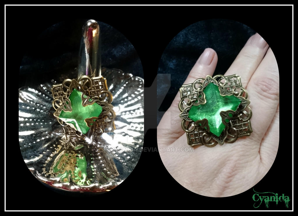 Steampunk imitated Emerald ring by Cyanida