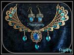 Victorian steampunk Peackock jewelry Set