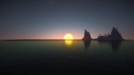 Minecraft sunset over water