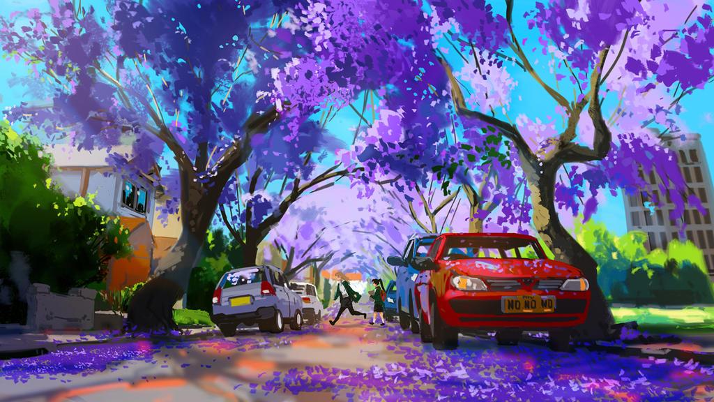 Purple shower by ye-fan
