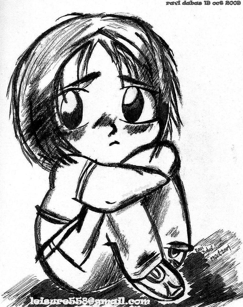 Sad boy cartoon wallpaper