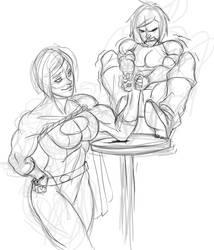 Korra arm wrestles Powergirl by Secret-Original