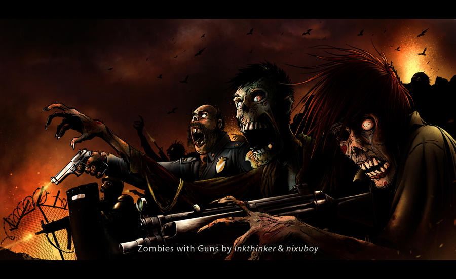 Zombies with Guns by nixuboy 45 Awesome Apocalyptic Zombie Artworks