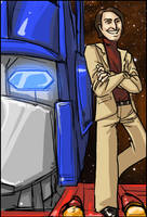 Carl Sagan and Optimus Prime by stripedwine