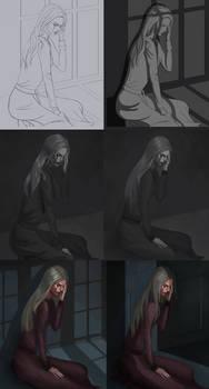 Adriana illustration step by step