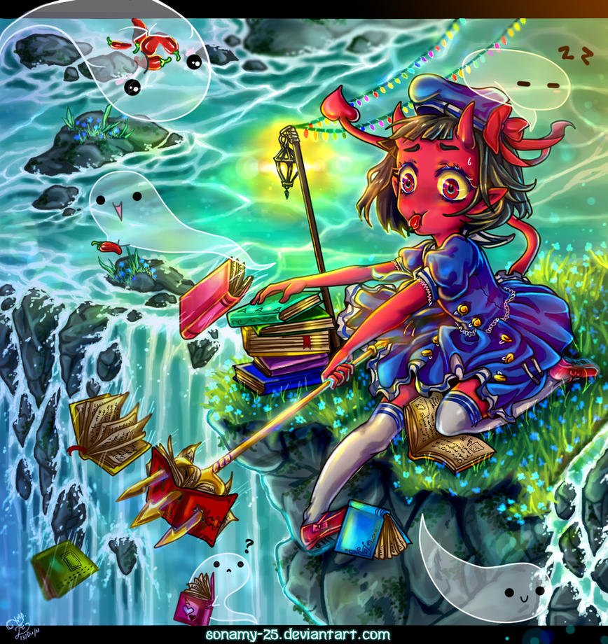 Anzu Contest- Waterfall of Books by kalisami