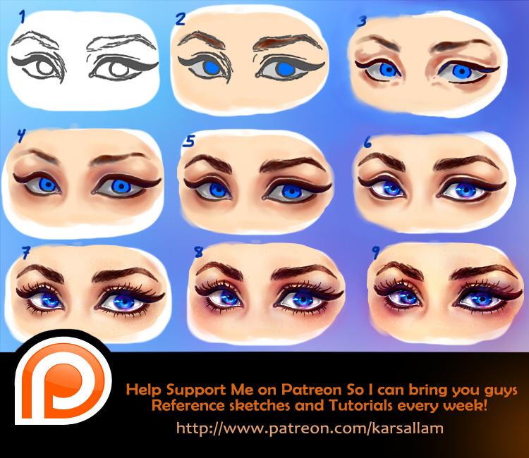 Semi- realistic Eyes Tutorial by kalisami