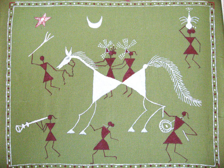 Warli painting wall hanging by guruzone on deviantart for Wall hanging painting designs
