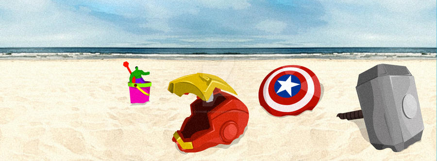 Avengers Assemble... at the beach! by ExtremeJuvenile