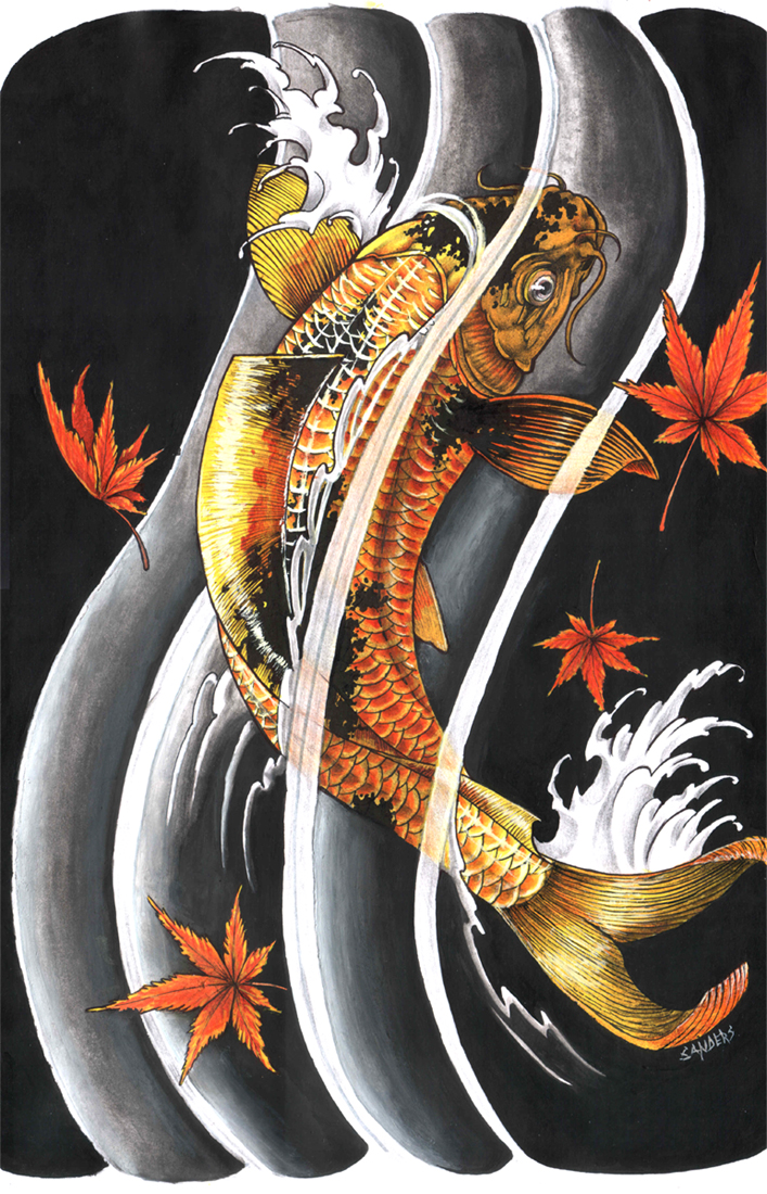 koi fish tattoo design by sandersk on deviantart. Black Bedroom Furniture Sets. Home Design Ideas