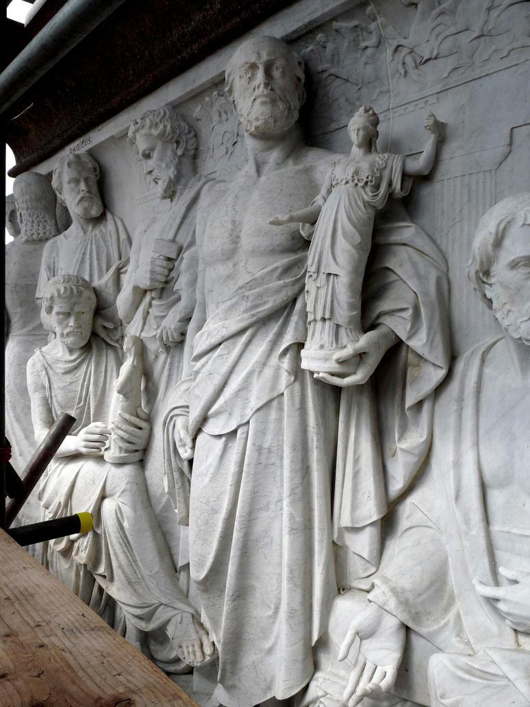 Phidias holding a figurine of Athena by tecciztecatl
