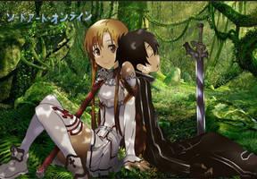 SAO Sword Art Online Kirito And Asuna by Miizu-Kun