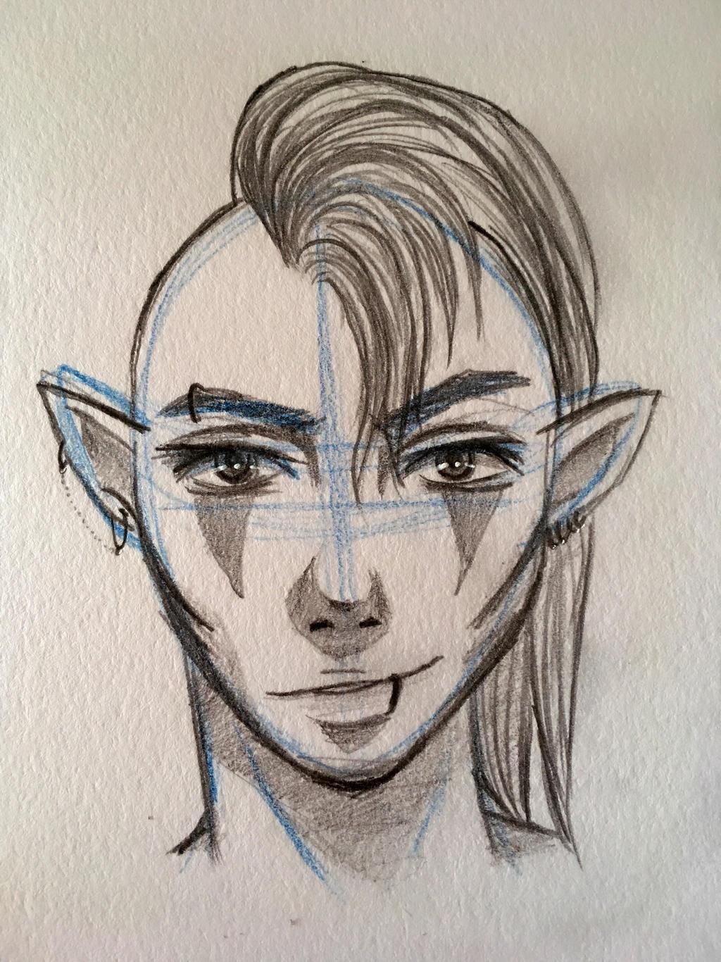 Sketch Of An Oc Male Elf By Kitsunemiyagi On Deviantart