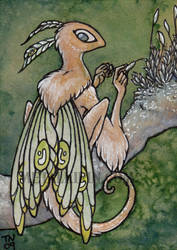 Moss fairy ACEO by thedancingemu