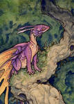 pink fairy dragon aceo