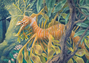 ACEO keyword commission Airborn Leafy Sea Dragon by thedancingemu