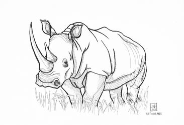 Inktober Day 3: white rhino by BeansEtc