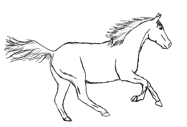Running horse drawing easy - photo#3