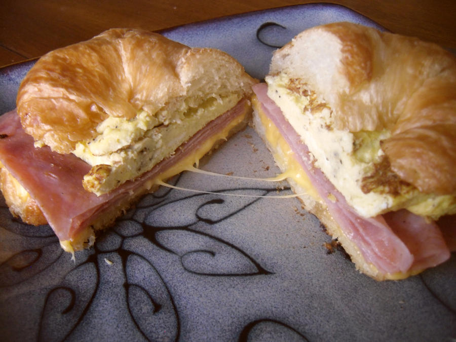Ham, egg and cheese sandwich by FinePrintKiss